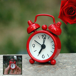 Wholesale Mini Table Clocks - Mini Candy Color Metal Alarm Clocks Table Desktop Dial Needle Clocks Function Cute Pocket Watches Portable Kitchen Clock ZA3418