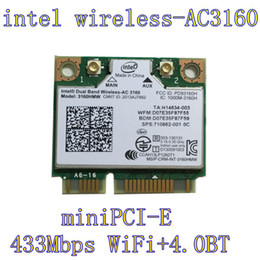 Wholesale Pcie Wireless Cards - Wholesale- Intel 3160.HMWG.R Dual Band Wireless AC + Bluetooth Mini PCIe card Supports 2.4 and 5.8Ghz B G N AC Bands with Mounting Screws