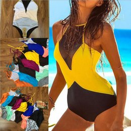 Wholesale Fashion Tankini Swimwear - Women One Piece Bikini Push Up Tankini Sexy Maillot De Bain Bodysuit Swimwear Brazilian Swimsuit Bathing Suit Fashion Beachwear OOA1262