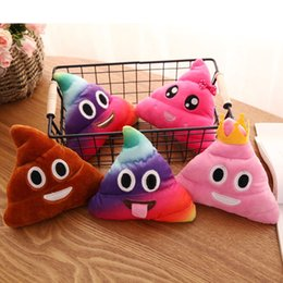 Wholesale Blue Green Decorative Pillows - New product Poo toy pillow 10 types rainbow 19cm cushion cute lovely emoji doll soft texture delicate workmanship decorative cuddle play