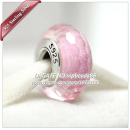 Wholesale Pink Glass European Beads - S925 Sterling Silver Fashion jewelry Sparkling pink facaded Murano Glass Beads Fit European DIY pandora Charm Bracelets & Necklace