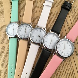 Wholesale Ladies Watch Dials Wholesale - New Round Shape Dial Fashion Mens Womens Unisex Ladies Leather Watch Simple Design Dress Sport Quartz 2017 Wrist Watches