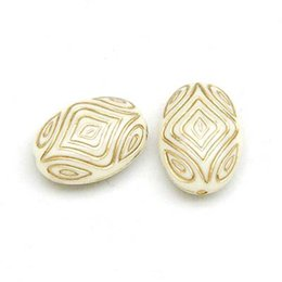 Wholesale Plastic Oval Beads - 100 pcs 7x13x18mm Acrylic Flat Oval Pattern Beads With Gold Lined Antique Design Deads For Diy Jewelry Making Accessories