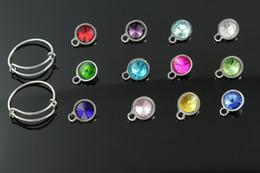 Wholesale Expandable Rings - Wholesale-10 mm hot sale expandable wire ring bangle crystal rhinestone birthstone charm pendant mix 12 colors x 5 pcs each color pendant