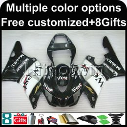 Wholesale Yamaha R1 1998 Gold - 23colors+8Gifts WEST BLACK motorcycle cowl for Yamaha YZF-R1 1998-1999 98 99 YZFR1 1998 1999 98-99 ABS Plastic Fairing