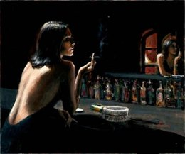 Wholesale Oil Smoke Mirrors - Framed Fabian Perez The Black dress girl smoking front mirror,Pure Hand Painted Portrait Art Oil Painting On Thick Canvas.Multi Sizes Fp038