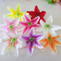 "lily fabrics Coupons - 13cm 5.11"" 8Colors Artificial Fabric Silk Lily Flower Head For DIY Wedding Wall Arch Decorative Hat Accessoires FL01"