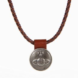 Wholesale Global Leather - High Quality 100% Genuine Leather Necklace Rock Punk Fashion Retro Nostalgia Global Woven Leather Cord Pendant Necklace