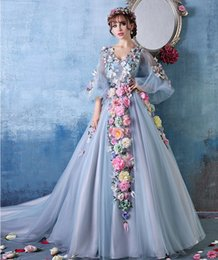 Wholesale Princess Prom Puffy Dress - 2017 Stunning With Sleeves Princess Flowers Puffy Prom Dresses Dinner Costume Evening Dress Party Debutante Gowns Long Homecoming Dresses