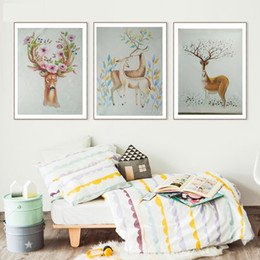 Wholesale Combination Sofa - 3Panels Yi Le Mai Frameless Attractive Picture Art Paints on Canvas Hand Painted Oil Painting for Sofa Wall Decoration Sikar Deer