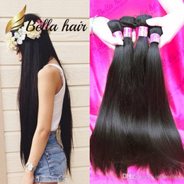 Wholesale Indian Human Hair Raw - 4pcs lot 10A Double Drown Brazilian Virgin Hair Bundles Peruvian Straight Hair Weave Unprocessed Raw Indian Human Hair Extensions Bellahair