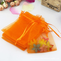 Wholesale Orange Favor Bags - 100ps 9x12cm Orange Color Organza Bag Wedding Decoration Favor Jewelry Packaging Goodie Gifts Pouch Drawing For Party Candy Bag