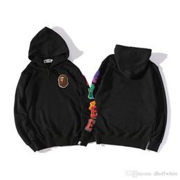 Wholesale Printing Kit - 2017SS Pure Color Kangaroo Pocket Simple Kit Head Embroidery Hooded Sweatshirt Coat Teenager Sportwear Fashion Jacket Tops