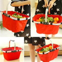 Wholesale Oxford Basket - Foldable Shopping Basket Oxford Picnic Basket 23x27x43cm Durable Washable Organization Bags For House Supermarket Shop Puchase OOA1919