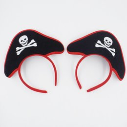 Wholesale Pirate Bands - The Caribbean Captain Skull Head Band Party Hats Easter Halloween Fancy Dress Costume Accessories Party Headdress Scary Presents CPA297