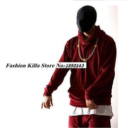 Wholesale Mens Hoodies Hiphop - Wholesale-HipHop Fashion Mens Velvet Velour Hood Hoodies Tracksuit Urban Clothing Pocket Front Kanye West Designer Clothes Red Black S-XXL