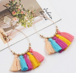 Wholesale Vintage Drop Earrings Jewelry - Vintage Bohemian Handmade Cotton Tassel Earrings for Women Ethnic Fringe Drop Earrings Party Jewelry Bijoux