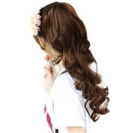 Wholesale Natural Hair Ponytail Piece - 2017 New Women's Lady Inclined Bangs Long Curly Full Wigs Hair fashion volume ponytail curly hair piece micro Lolita wig