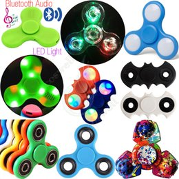 Wholesale Newest Toy Led - Top Bluetooth Audio Fidget Spinners Toys LED Light Hand Spinner Switch EDC Finger Tip Decompression Anxiety Rollover Plush Newest Toy DHL