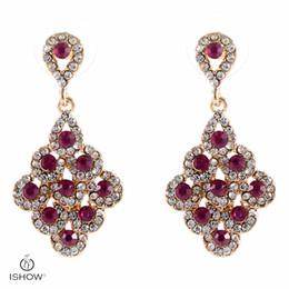 Wholesale I Earrings - I Show earrings Luxurious Rhomb Bridal Earrings Vintage Rose Crystal Earings Woman Bridesmaids Jewellery Wedding Earrings Brinco