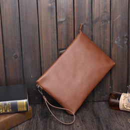 Wholesale Large Vintage Clutch - New VINTAGE Casual Crazy horse PU leather Men's Envelope Clutch Business Men Clutch Bags Solt Leather Large Capacity Hand Bags