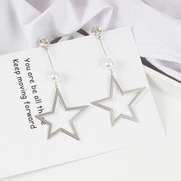 Wholesale Nickel Free Pearl - Silver star pearl earrings chain nickel-free women and girls fashion Earring YR270