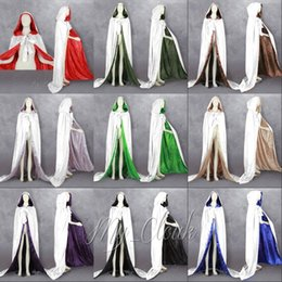 Wholesale Colorful Vampire - White Velvet Hooded Cloak Lined Colorful Satin Renaissance Wedding Halloween Robe Medieval Witchcraft Wicca Robe Larp Gothic Cosplay LARP