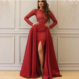 Wholesale Grid Dress - 2017 Burgundy Prom Dresses Beaded Grid Embroidery Bodice Crew Neckline Split Satin Party Gown With Overskirt