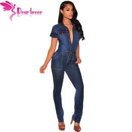 Wholesale Jumpsuits Longo - Wholesale- Dear-Lover 2016 Fashion Macacao Jeans Longo Rompers Dark Denim Button Down Jumpsuit Overalls Women Full Length Trousers LC64110