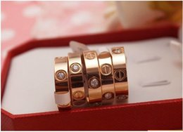 Wholesale Heart Steel - 6mm Famous brand Women men crystal Jewelry love rings luxury titanium steel Rose Gold bijoux couple lovers ring