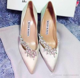 Wholesale Wedding Blue Shoes Diamonds - FREE SHIPPING 2017 grain diamond satin surface pointed high-heeled shoes fine documentary shoes red bridesmaid wedding party shoe 250