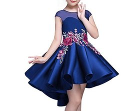 Wholesale 5colors Clothing - 3-13 Years Kids summer Spring Autumn Princess Dresses for Toddler Girl Children embroidery Fashion Clothing Baby Girl birthday Dress 5colors