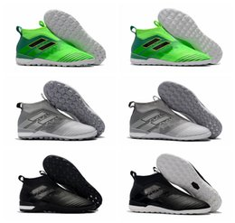 Wholesale Tf Shoes - 2018 original ace 17 indoor soccer cleats Tango 17+ Purecontrol TF IC boys football boots turf soccer shoes for kids Turbocharge Pack black