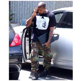 Wholesale Men Casual Camo Pants - Military Camouflage Cargo Pants Men 2017 Loose Style Casual Denim Camo Men's Trousers Kanye West Cotton 30 32 34 36