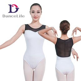 Wholesale Leotard Mesh - tank adult dance leotard mesh dance leotards women round neck ballet dance leotards ballet leotards A2027