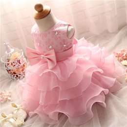 Wholesale Little Girls Formal Dresses Wholesale - Wholesale- Cute Baby Girl Pink Fluffy Little Dress For Child Wedding Gown Baby Girl 1 Year First Birthday Party Dresses Vestidos Infantil