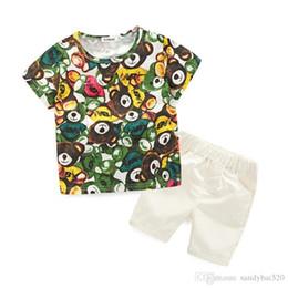 Wholesale Boys Shorts Pants Set - Kids Boys Cartoon Sets 2017 New Summer Baby Boy Bear Print T-Shirts + Short Pants 2pcs Outfits Children Suits Fancy Children Clothes S005
