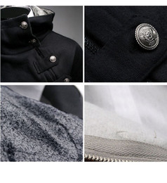 Wholesale Men Slant Hoodie - 2016 Chrismas Hot Mens Coat Slim Fit Autumn Winter Fur Collar Hoodie Coats Slant Zipper Metal Buckle XS, S, M, L, XL Warm Jackt For Men
