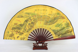 """Wholesale Vintage Chinese Silk Embroidery - 10"""" Vintage Large Male Folding Hand Fan Ethnic Handicrafts Gift Home Decoration Chinese Silk Cloth Printed Fans"""
