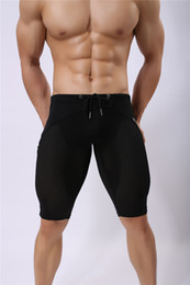 Wholesale Brown Person - Sprots Wear Brave Person Men's Fashion Sexy Transparent Shorts Breathable Bodybuilding Solid Tights Mesh Shorts Size S-XL