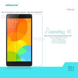 Wholesale Nillkin Screen Protector Wholesale - Wholesale-Glass Film for Xiaomi Mi4c Mi4i Original NILLKIN Amazing H Nano Ant-burst Tempered Glass Screen Protector