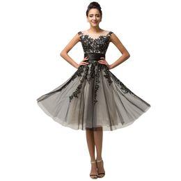 Wholesale Grace Karin Tulle Dress - Grace Karin Women Evening Dresses Beading Sequins Vestidos Cap Sleeve Vestido De Renda Black Tulle Lace Evening Dress Short 2017