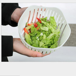Wholesale Plastic Salad Boxes - 60 Second Salad Cutter Bowl Easy Salad Fruit Vegetable Washer And Cutter Salad Bowl Cutter Strainer Retail box
