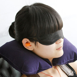 Wholesale Ear Pillows - wholesale price 1 set of Travel Kit Inflatable U shape Neck Pillow+eye mask+Ear Plugs grey and blue ostrich pillow cushion 008