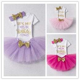 Wholesale Kids Birthday Clothes - Baby Girl Paillette bowknot Sets Kids White Letter Birthday T-shirt Cotton Infant Clothes Bubble Dress Two-Pieces Outfits