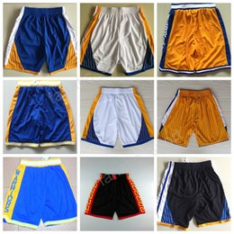 Wholesale Yellow Men S Pants - Golden State 30 Stephen Curry Shorts Chinese Breathable 35 Kevin Durant Basketball Pant Men Sportswear Blue White Black Yellow Team Quality