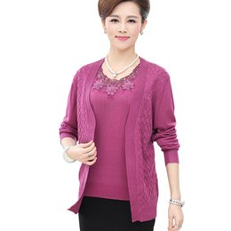 Wholesale Two Color Cardigan Sweater - Wholesale-M-XXXL Really Two Piece Set Sweater 2016 Fashion Women O Neck Long Sleeve Cardigan Plus Size Loose Women Sweater Suits