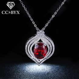 Wholesale Sterling Gold Color Chain - CC Jewelry wholesale Luxury Red Heart Necklaces For Women White Gold color Pendents Necklace CZ Jewelry With Austrian Crystal Gift N004