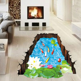 Wholesale Fish Poster - 3D Stereo Fish in the Lotus Pond Wall Stickers Removable Waterproof PVC Wallpaper Decor DIY Home Decoration Wall Art Mural Poster