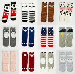 Wholesale Totoro High Socks - 75 Style Fashion Unisex Cartoon Animal Leg Warmers Baby Girls & Boys Knee High Totoro Panda Fox Socks Kids Cute Striped Knee Pad Sock